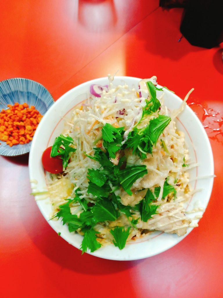 野菜、ニンニク、アブラ、ガリマヨ、辛揚げ別皿